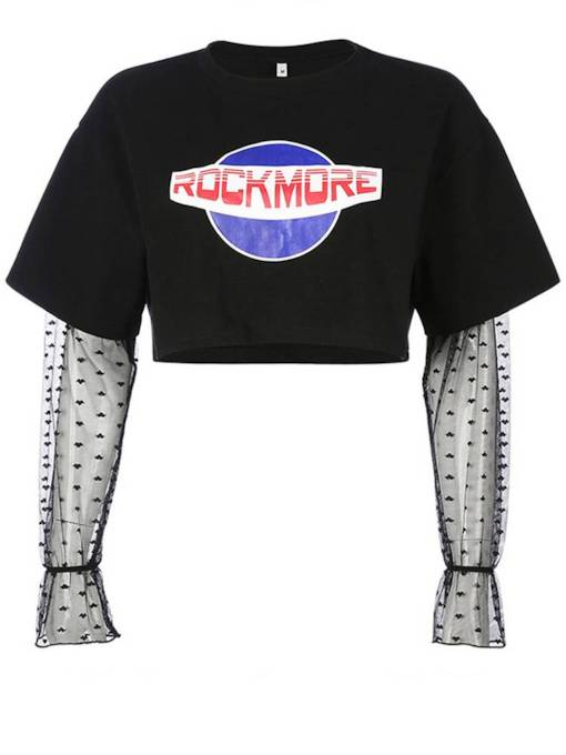 Mesh Patchwork Letter Print Women's Cropped T-Shirt