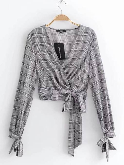 Tie Wasit Plaid Print Wrap Top Women's Blouse