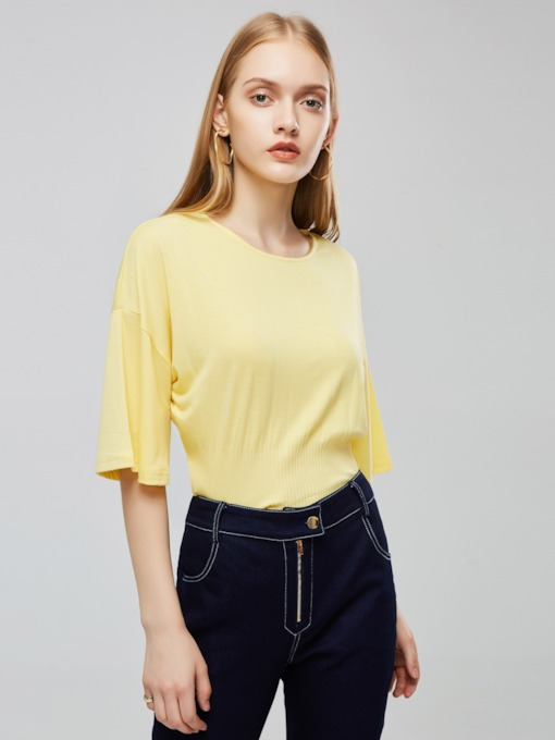 Plain Solid Color Elastic Waist Women's Blouse