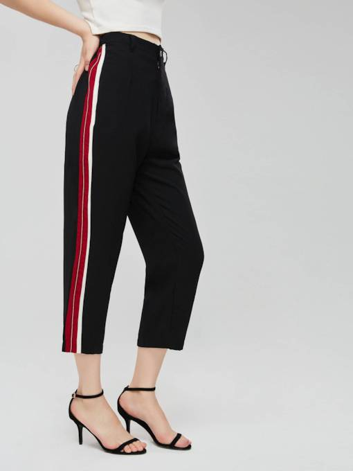 Side Striped Color Block Women's Cropped Pants