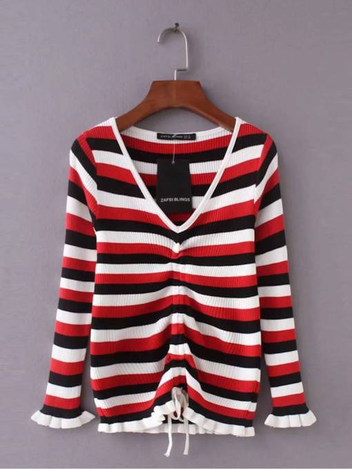 Ruched Drawstring Stripe Deep V-Neck Women's Sweater