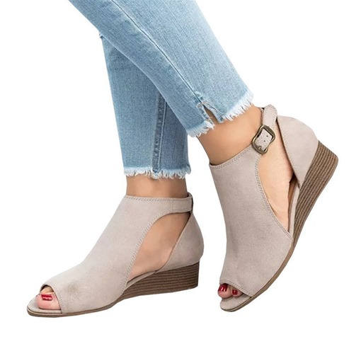 Peep Toe Buckle Wedge Heel Casual Women's Sandals