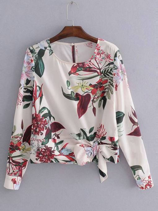Bow Tie Waist Floral Print Long Sleeve Women's Blouse