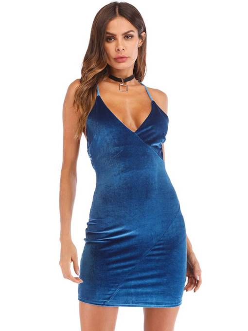 V-Neck Plain ärmelloses bodycon sexy Kleid