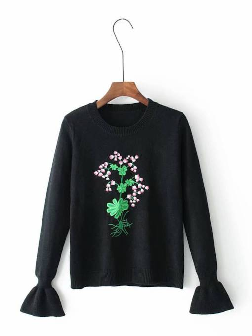 Flare Sleeve Floral Embroidery Pullover Women's Sweater