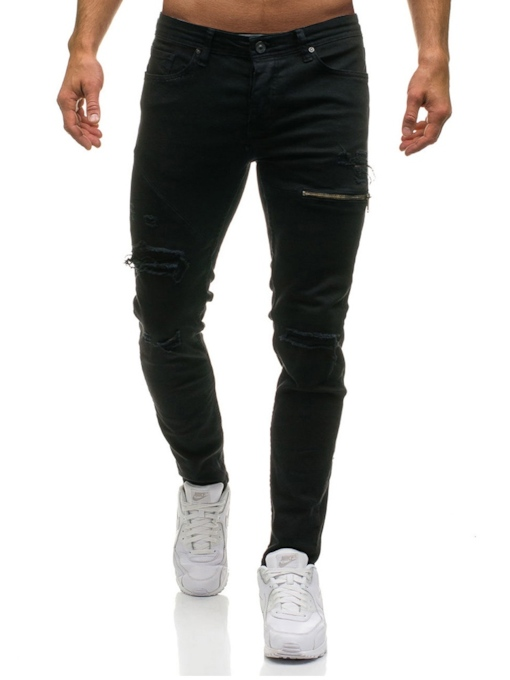 Hole Zipper Worn Slim Men's Jeans