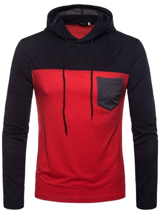 Hooded Patchwork Plain Men's Hoodie