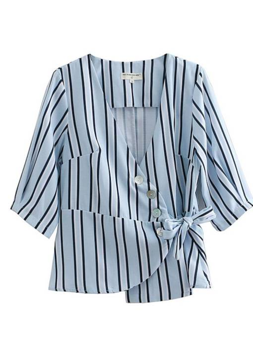 Button Down Lace Up Stripe Plunge Neck Women's Blouse