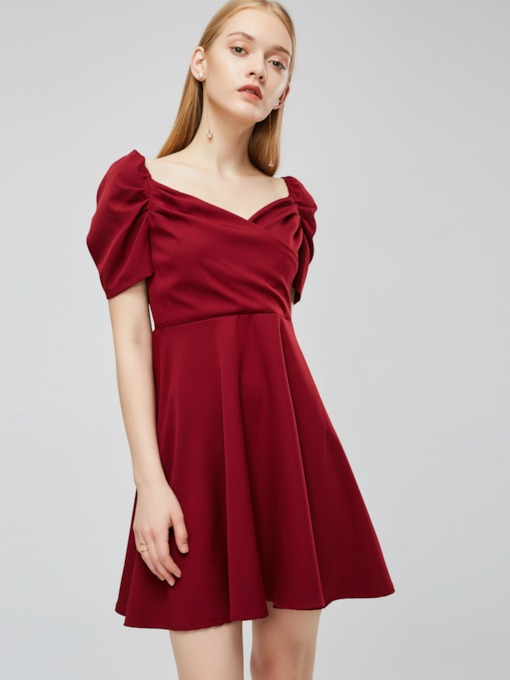 Square Neck Short Sleeve Women's Day Dress