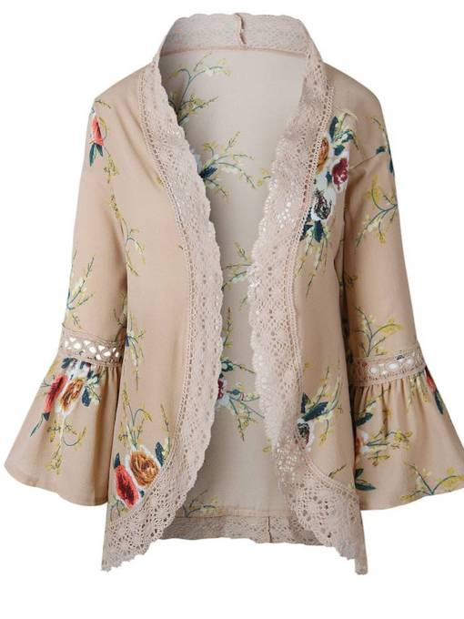 Flare Sleeve Ruched Lace Patchwork Women's Cape