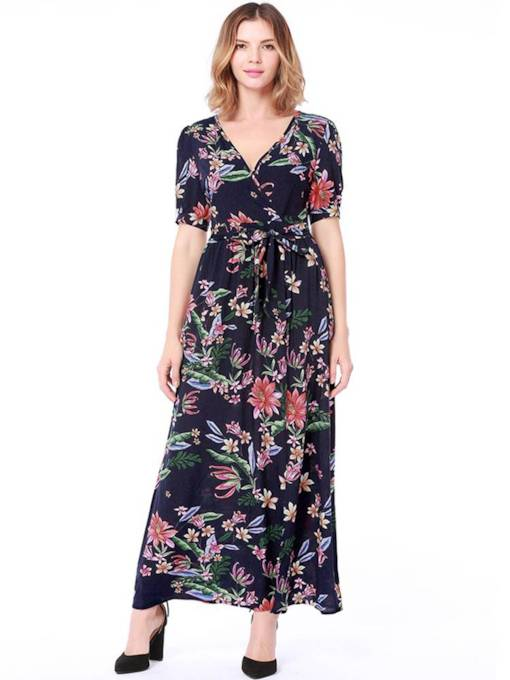 Short Sleeve High Waist Prints Maxi Dress