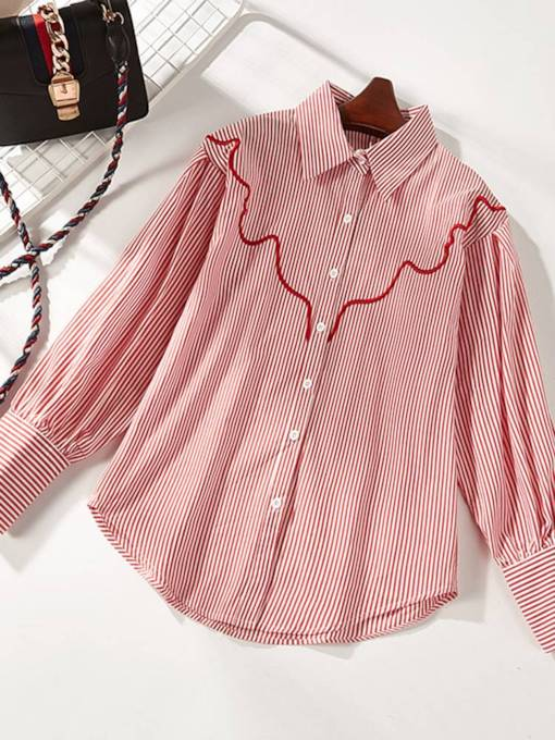 Ruched Stripe Single-Breasted Women's Shirt