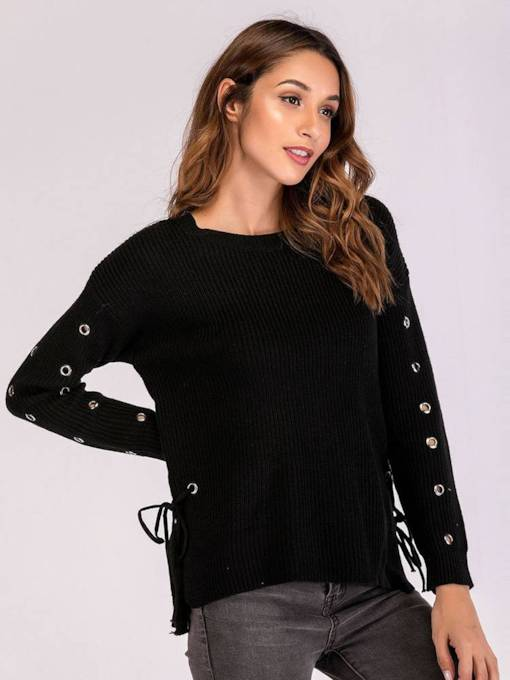 Plain Hollow Out Lace Up Split Hem Women's Sweater