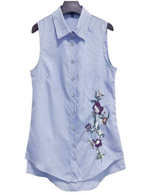 Sleeveless Floral Embroidery Mid Length Women's Shirt