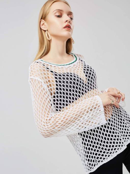 Slim Hollow Long Sleeve Fish Net Hole Women's Sweater