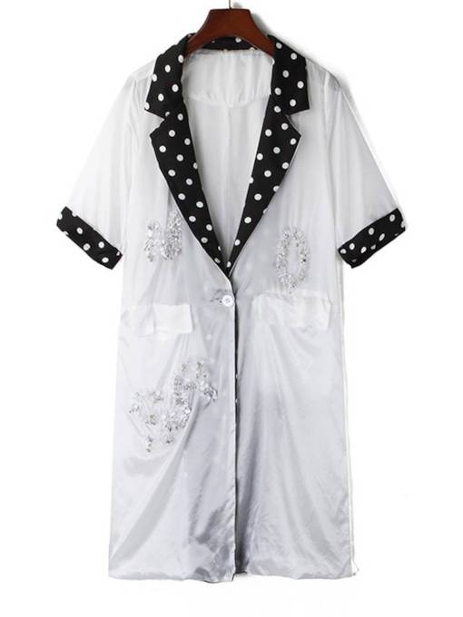 Polka Dots Notched Lapel Short Sleeve Women's Trench Coat