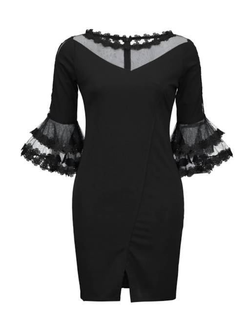 Black Flare Sleeve Mesh Bodycon Dress
