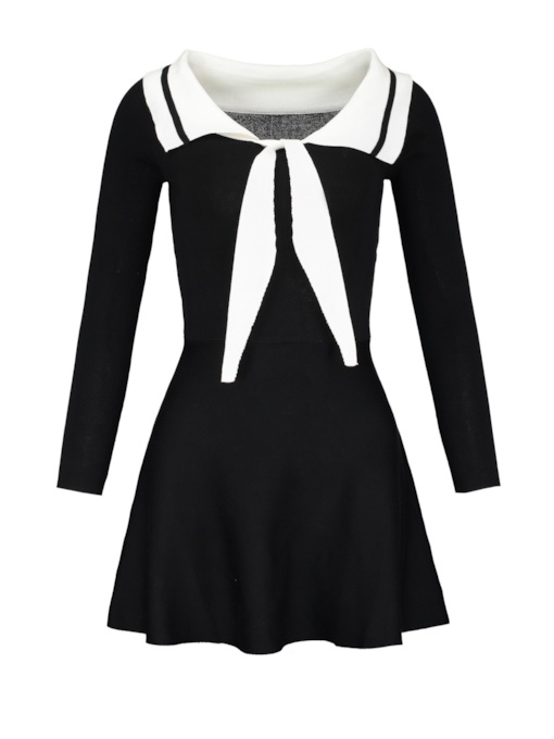 Boat Neck Bowknot A-Line Day Dress