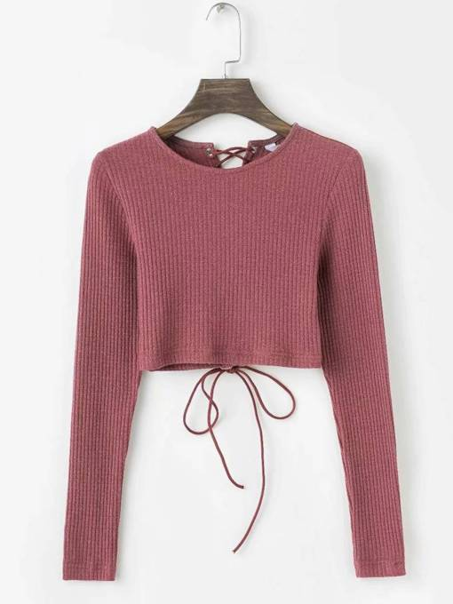 Lace Up Solid Color Women's Cropped Sweater