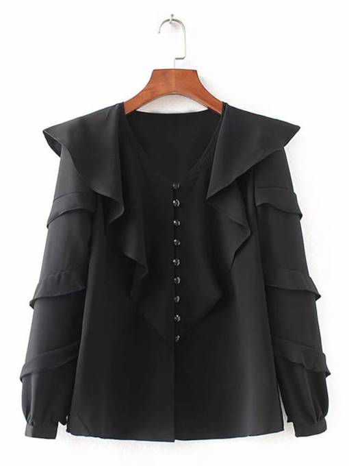 Single-Breasted Ruffle Sleeve Frilled Women's Shirt