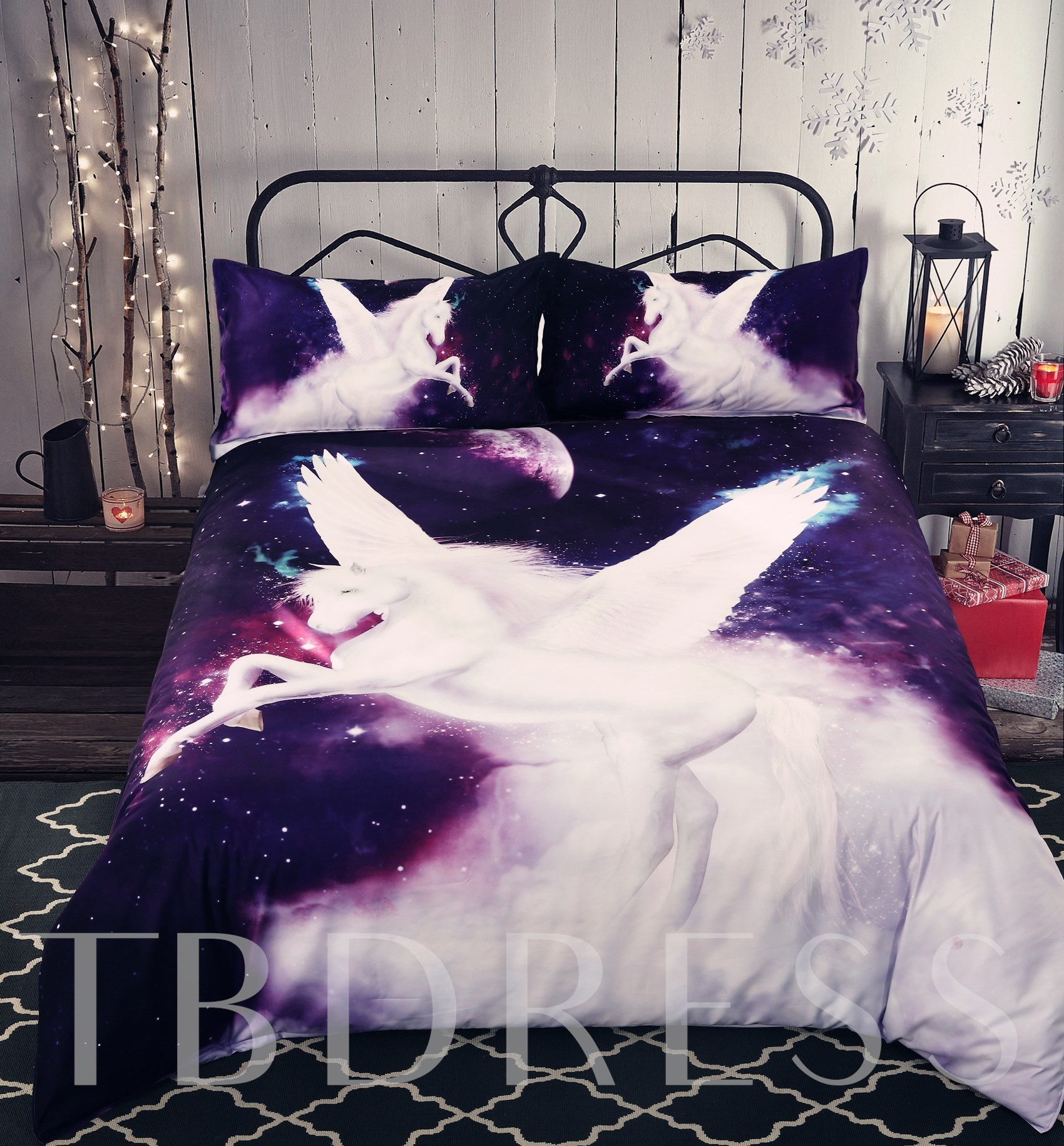 White Unicorn with Wings Printed Cotton 4-Piece 3D Bedding Sets/Duvet Covers