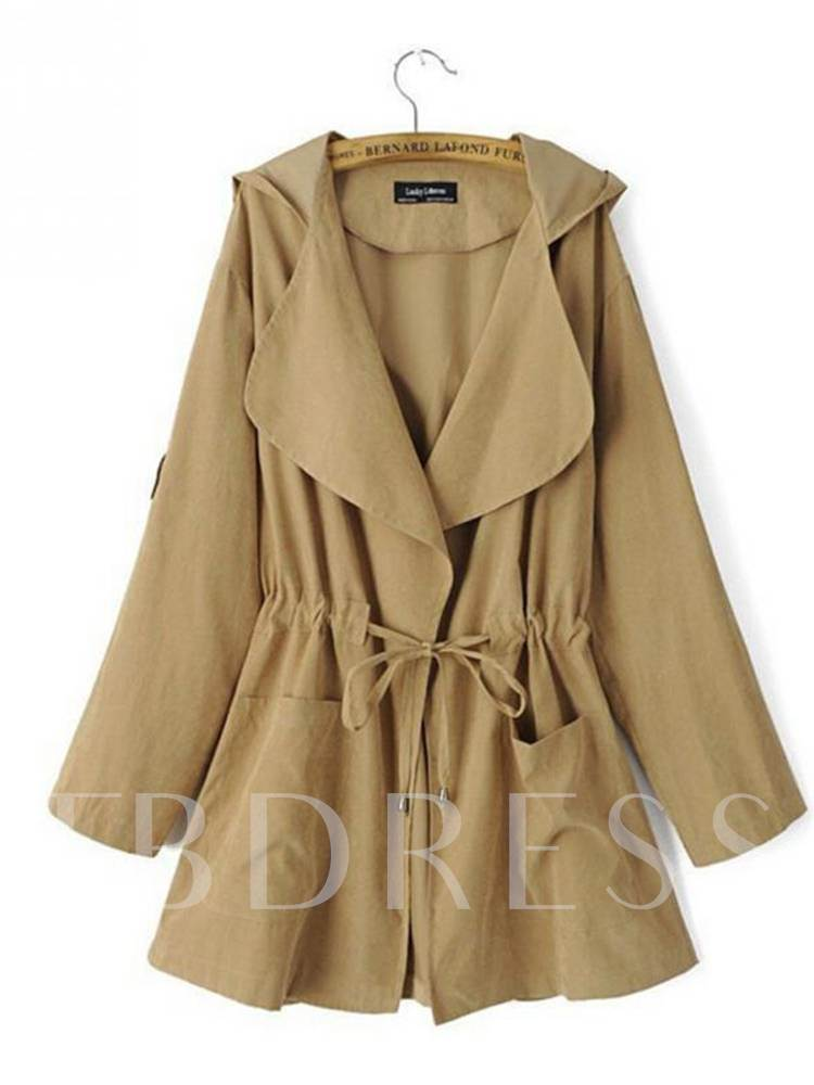 Drawstring Lapel Hooded Dual Pocket Women's Trench Coat