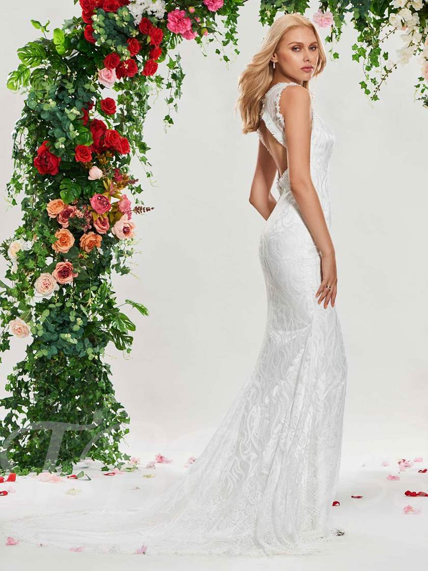 Tassel Lace Mermaid Backless Wedding Dress