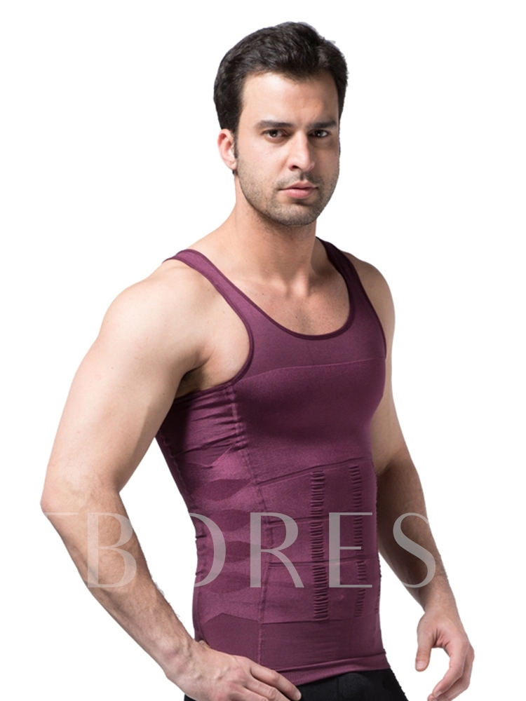 Solid Breathable Body Shaping Sports Vest Top for Men
