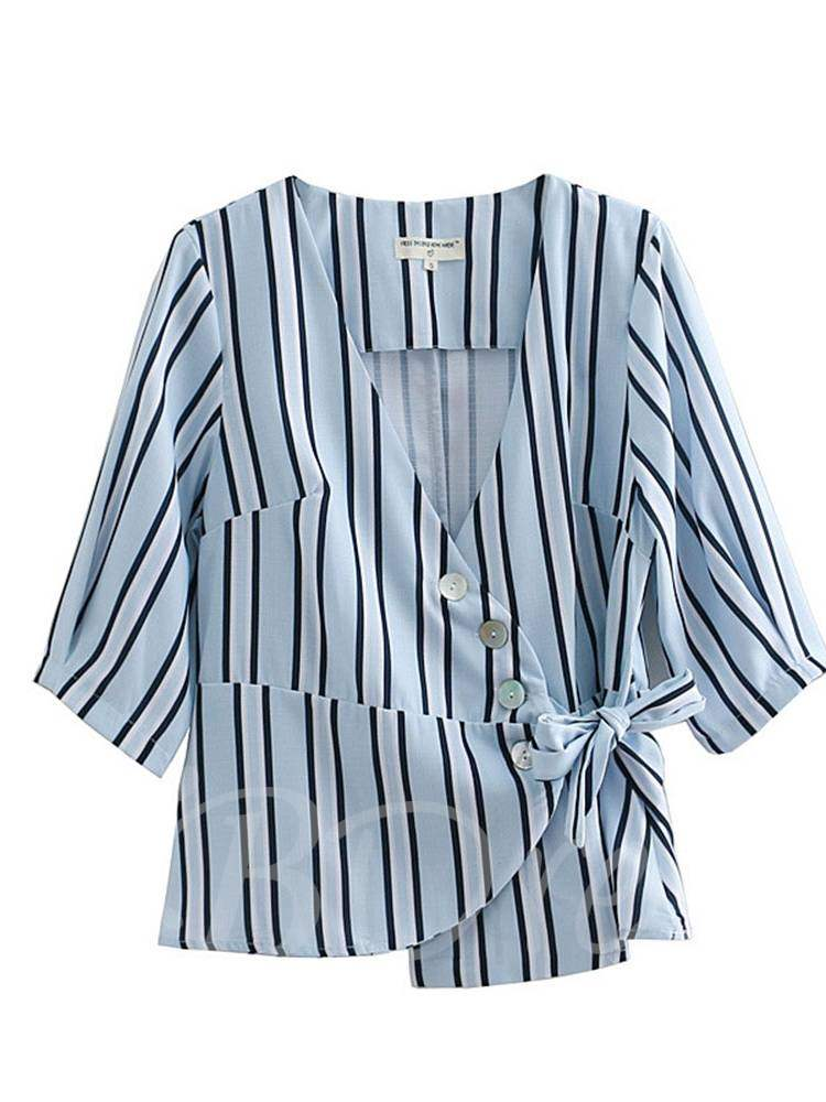 Buy Button Down Lace Up Stripe Plunge Neck Women's Blouse, Summer, 13368226 for $17.28 in TBDress store