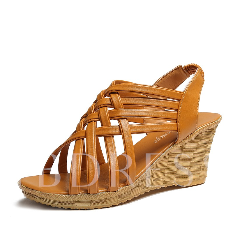 Open Toe Elastic Band Strappy Wedge Heel Women's Sandals
