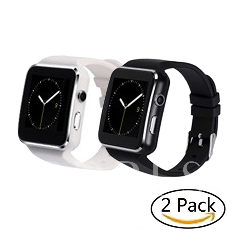 X6 Smart Watch with Camera Support 32G TF-card & GPRS Function Smartwatch for Apple/Android Cellphones--Black&White 2 Pack