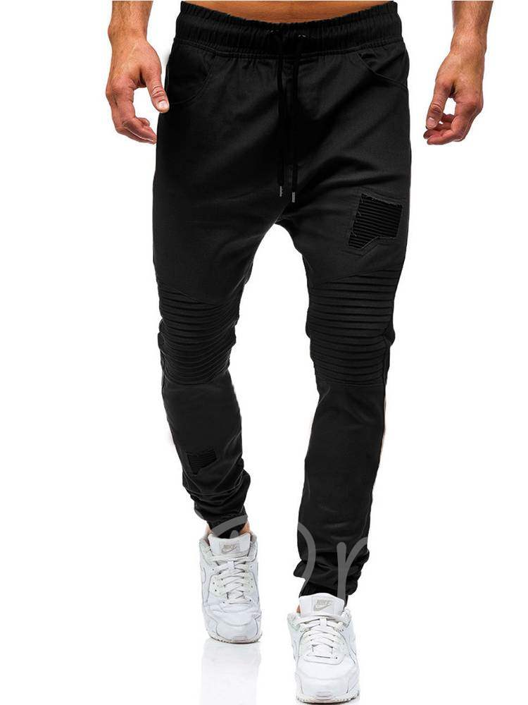 Patchwork Lace-up Solid Color Men's Casual Pants, Spring,Fall, 13368066