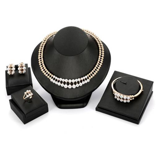 Sparkling Pearl Inlaid Four-Piece Jewelry Sets