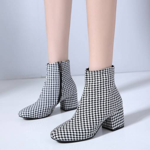 Plaid Side Zipper Chunky Heel Vintage Women's Ankle Boots
