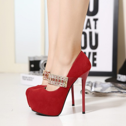 Round Toe Suede Stiletto Heel Stylish Women's Pumps