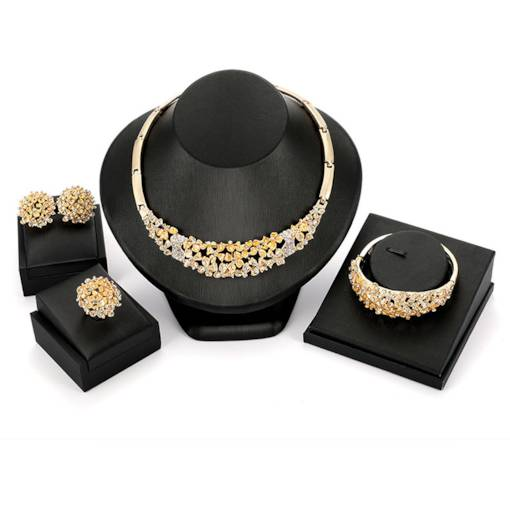 Dazzling Gold Diamante Four-Piece Jewelry Sets