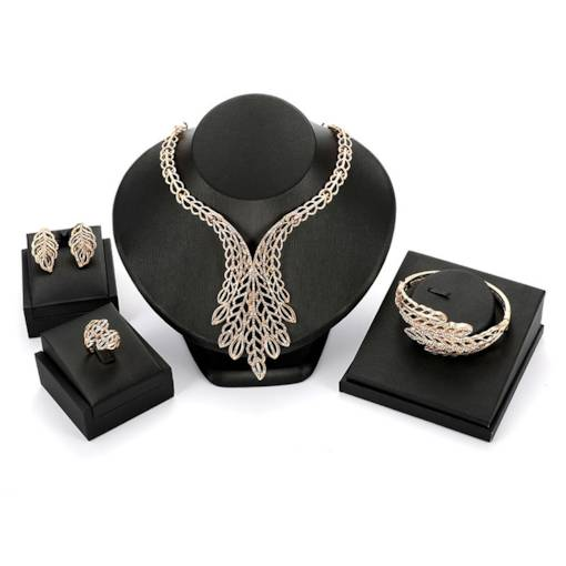 Diamante Hollow Leaves Jewelry Sets