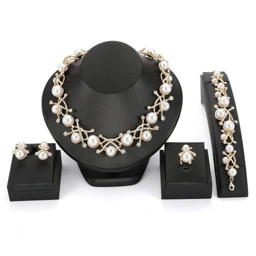 Sweet Pearl Diamante Wedding Jewelry Sets