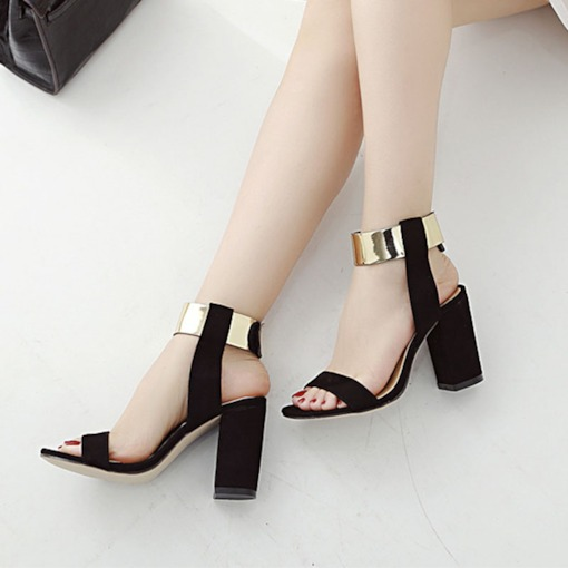 Open Toe Ankle Strap Chunky Heel Sequin Women's Sandals