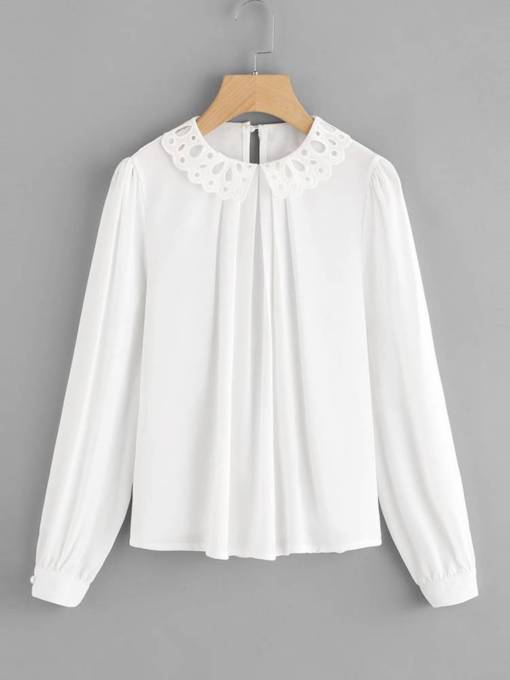 Ruched Peter Pan Collar Solid Color Women's Blouse