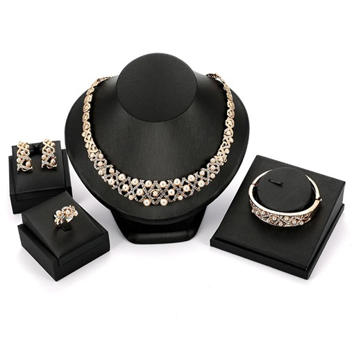 Sparkling Pearl Inlaid Diamante Jewelry Sets