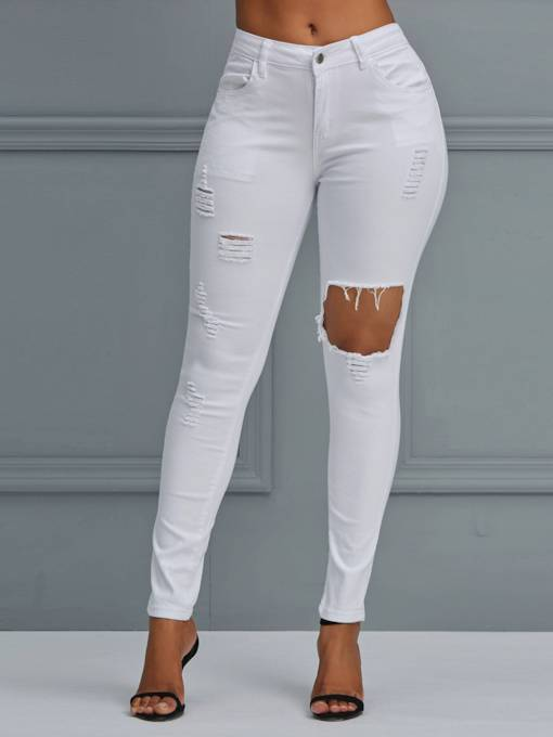 White Slim Hole High-Waist Women's Jeans