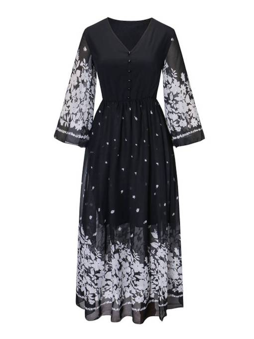 V-Neck Button Prints Zip Women's Day Dress