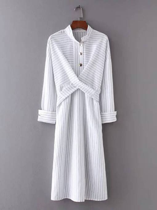 Stand Collar Button Ruffle Stripe Day Dress