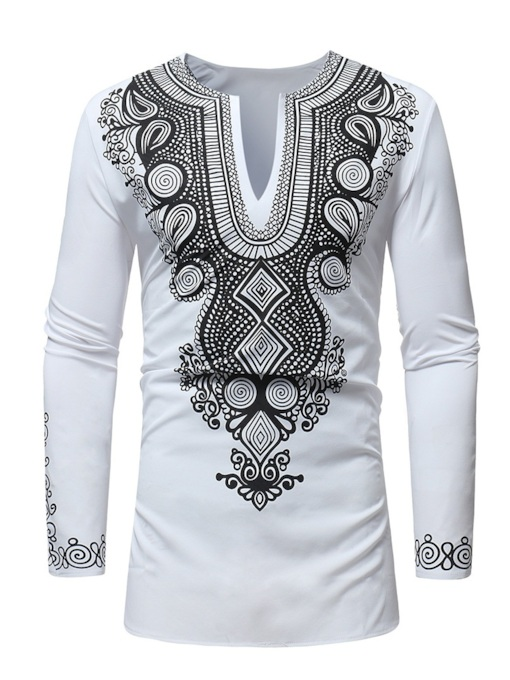 Dashiki Style Mid Pattern Slim Men's Shirt
