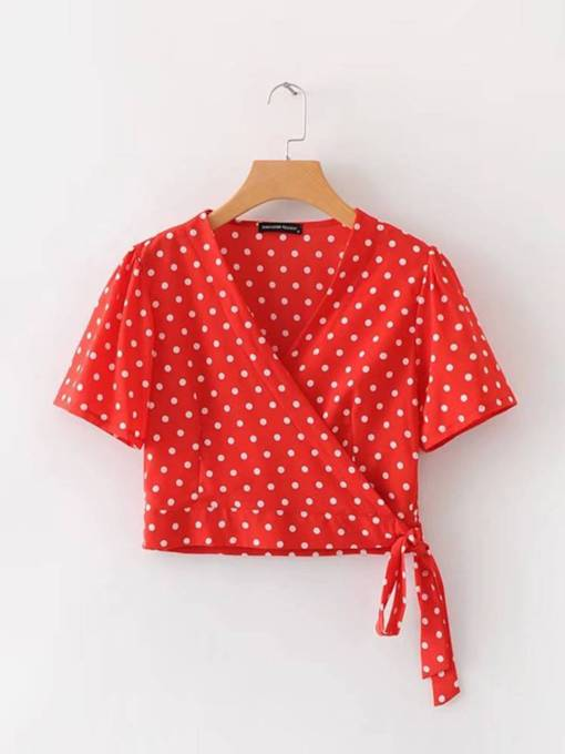Wrapped Top Lace Up Polka Dot Women's Cropped T-Shirt
