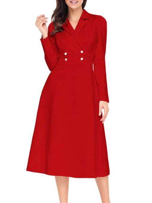 Long Sleeve Button High Waist Day Dress
