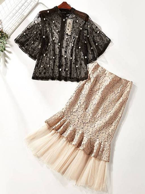 Lace Pullover See Through Top and Skirts Women's Two Piece Set