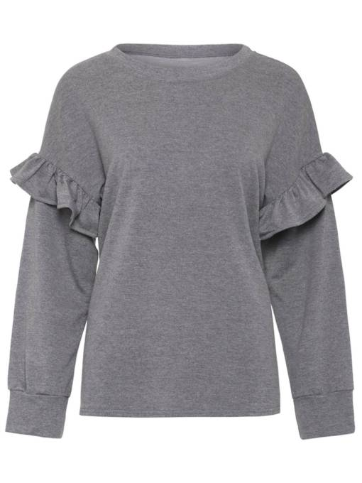 Frilled Pure Color Long Sleeve Women's Sweatshirt