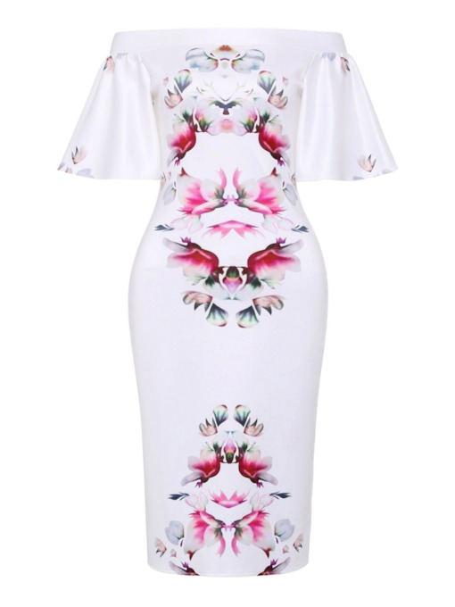 Off Shoulder Flare Sleeve Floral Prints Bodycon Dress